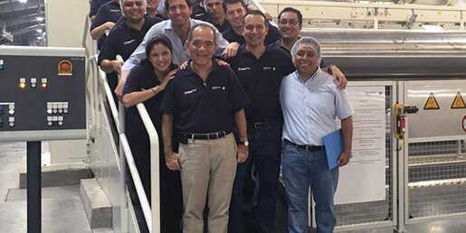 Absolutely happy about the smooth line start: Erik Sosa (in front left), OPP Film's Technical Director and his team